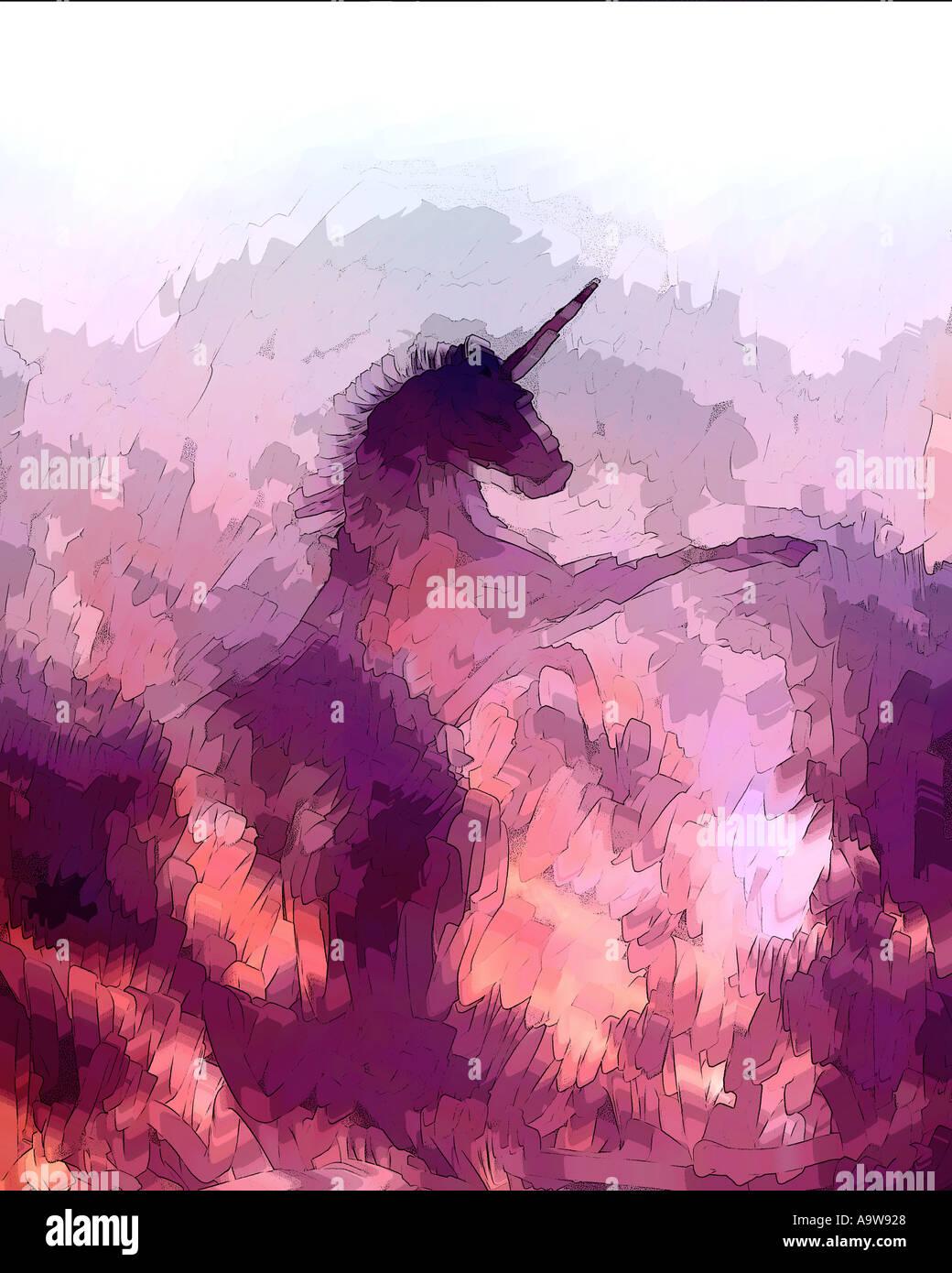Unicorn silhouette in clouds - Stock Image
