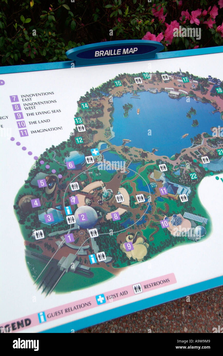 Map directions in Braille at The Epcot Center at Walt Disney World ...