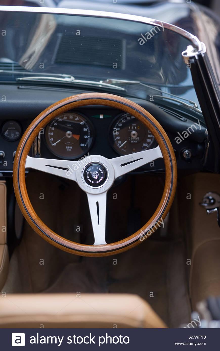 Wooden Steering Wheel Of Jaguar E Type Car Stock Photo 7111922 Alamy