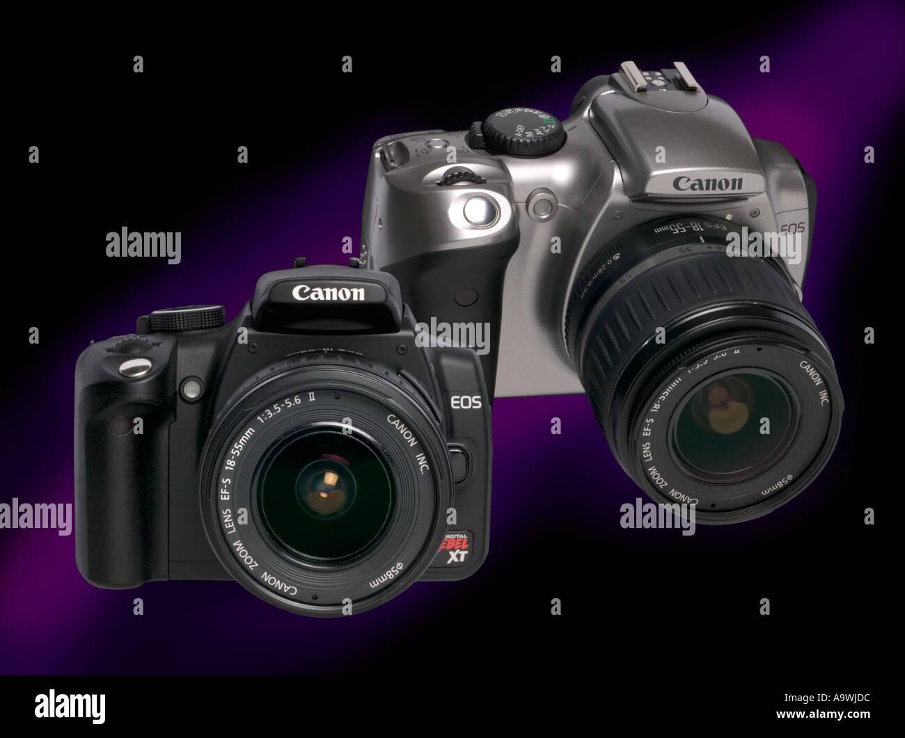 Comparison between Canon digital SLR cameras Canon 300d, 6mp and 350d 350XT digital SLR camera 8mp six megapixel - Stock Image