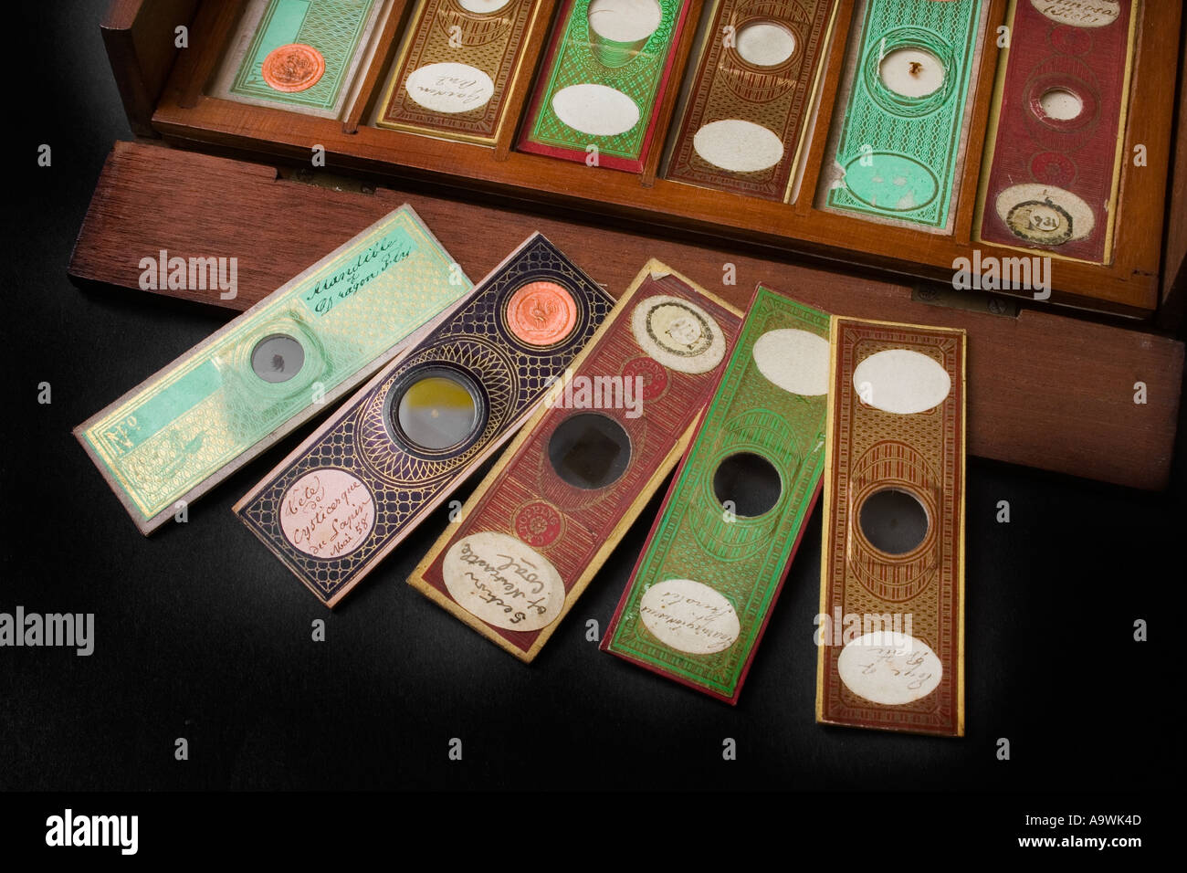 Antique microscope slides paper covered - Stock Image