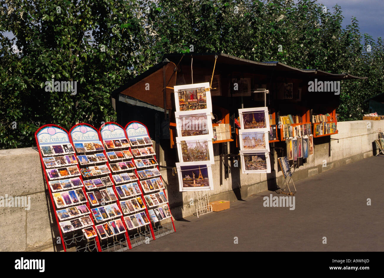 Europe France Paris Quai on the Left Bank of the River Seine Book Stall - Stock Image