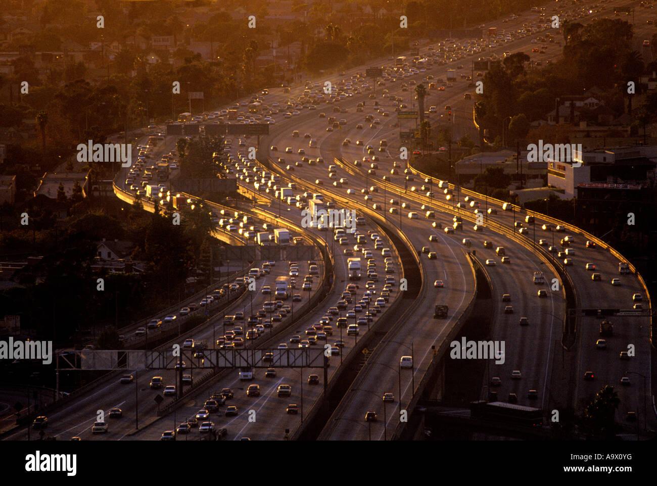 AERIAL ROAD TRAFFIC CONGESTION SANTA MONICA FREEWAY LOS ANGELES CALIFORNIA USA - Stock Image