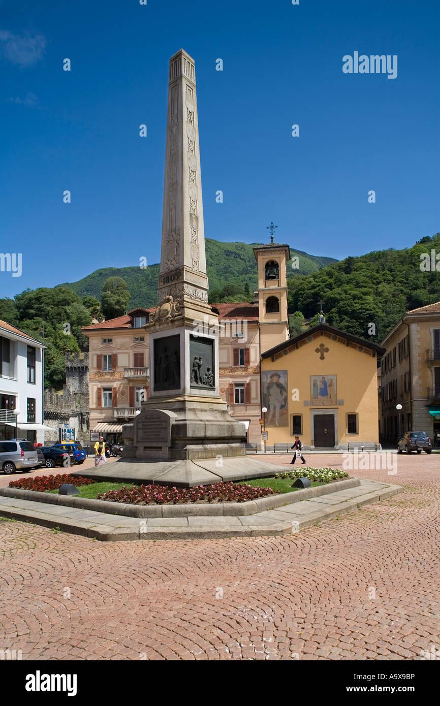 Piazza Independenza Chiesa San Rocco Bellinzona Tucino Switzerland - Stock Image