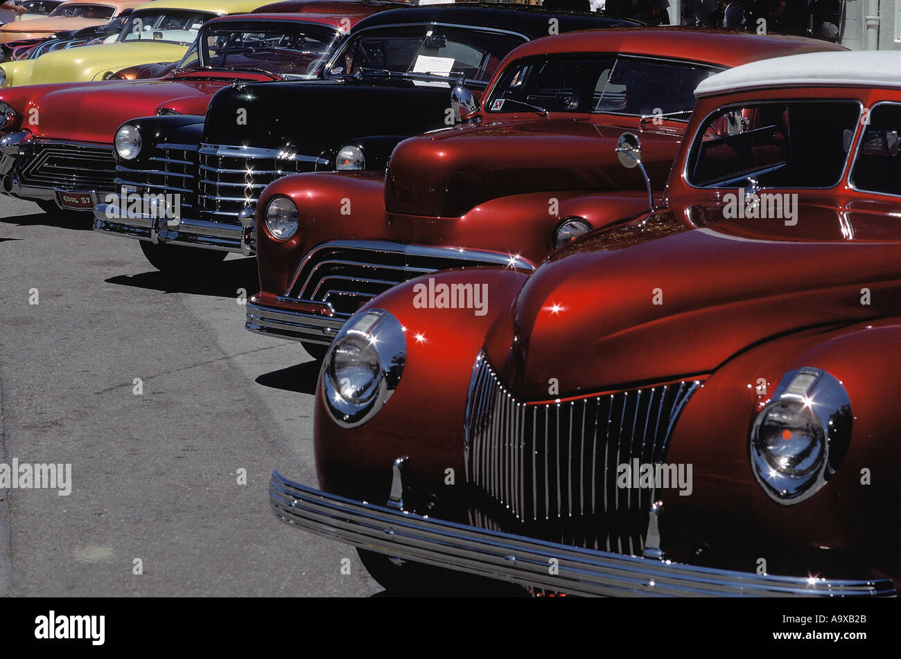 The Award Winners Lined Up At A Custom Car Show In Paso Robles Stock - Paso robles car show