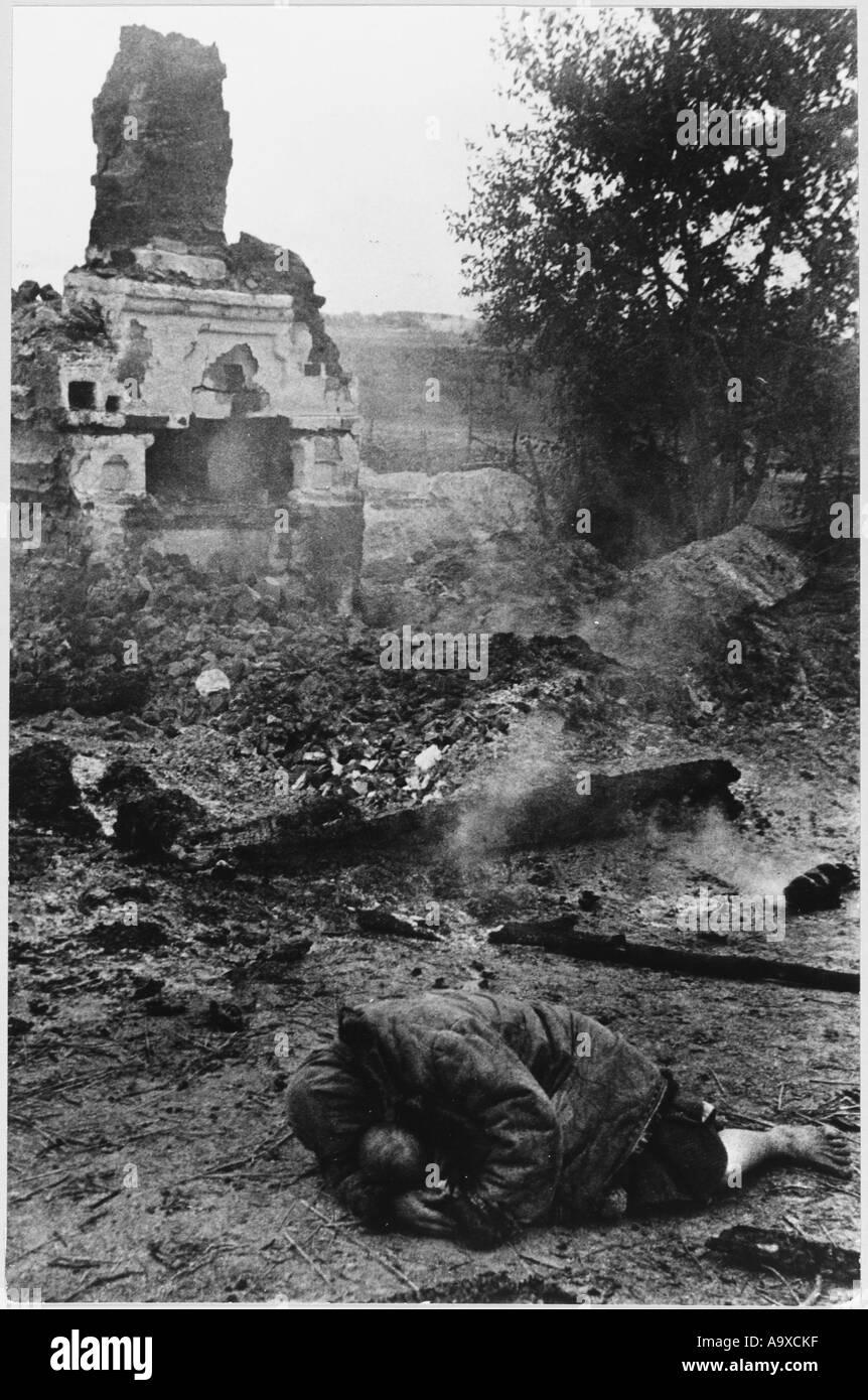 Civilian In Ruins - Stock Image