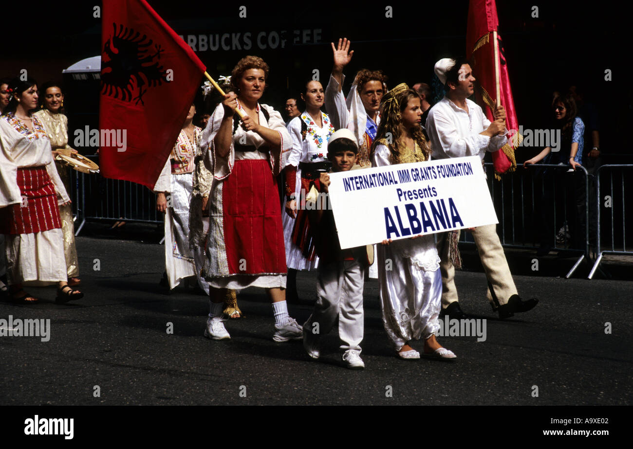 New York Albanians in Parade USA - Stock Image