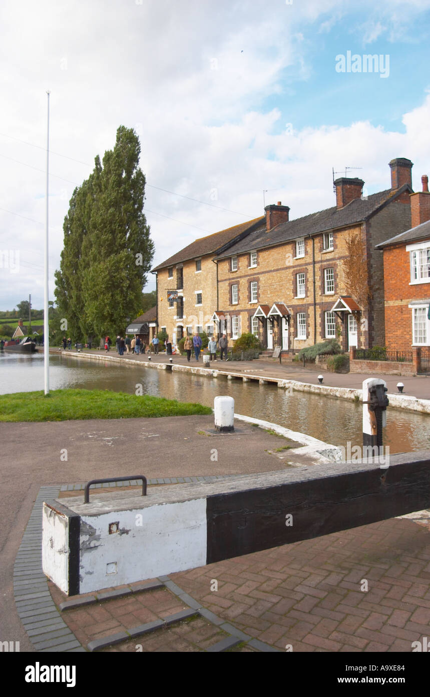 The locks at Stoke Bruerne on the Grand Union Canal England - Stock Image