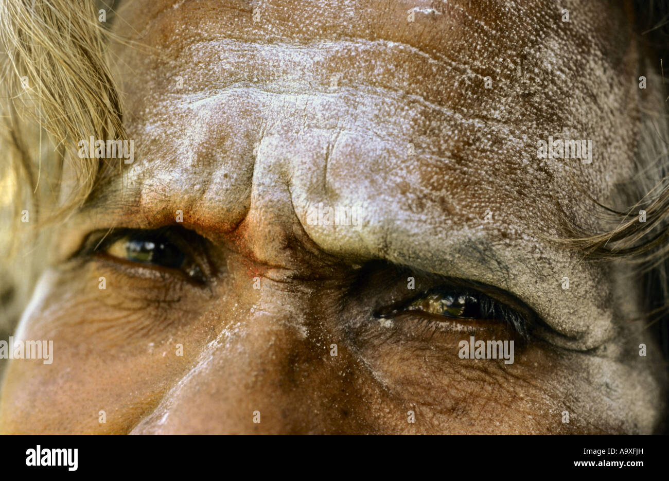 eyes of an Sadhu, India - Stock Image