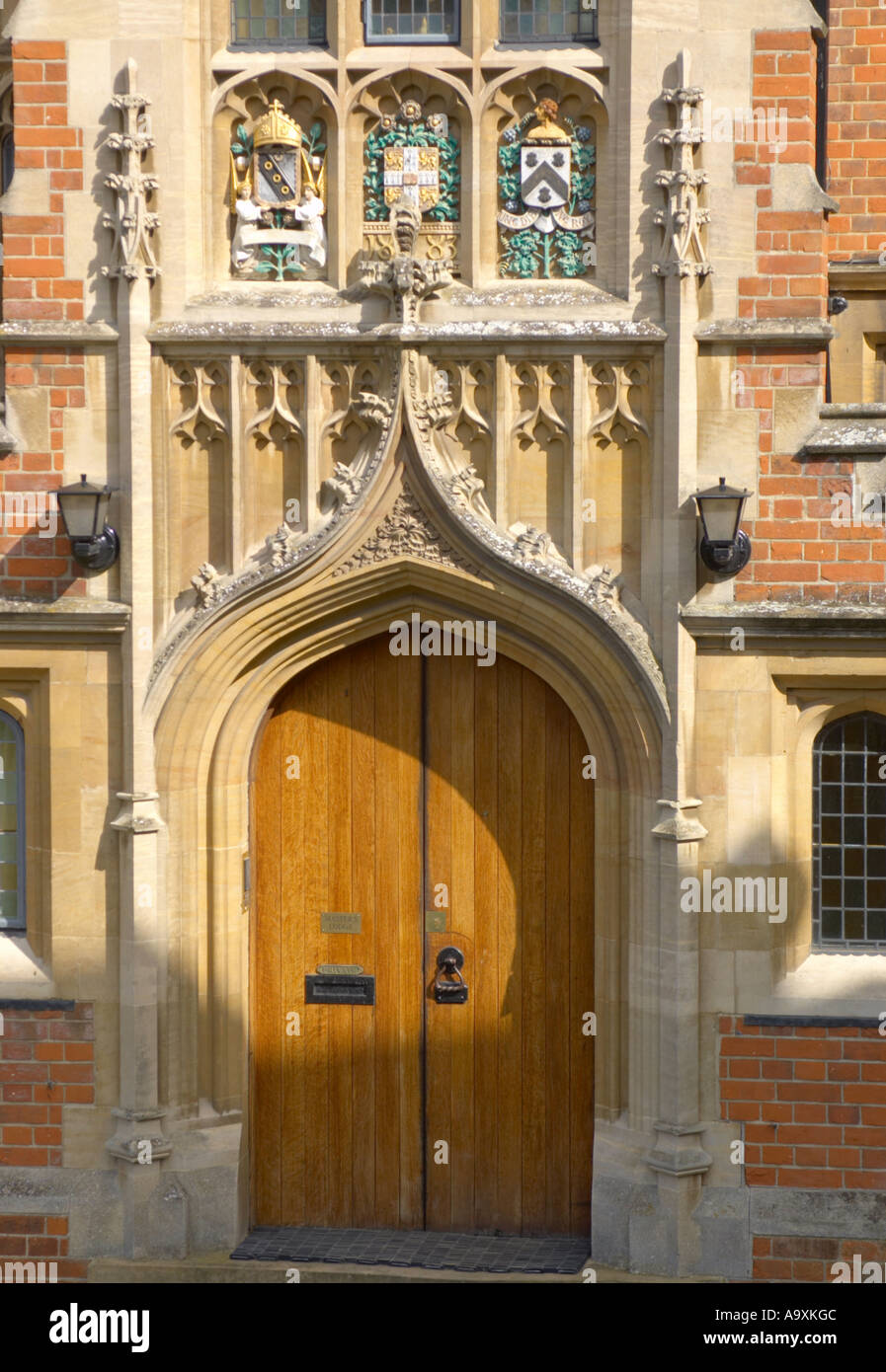 Cambridge University ornate entrance to the masters lodge of Selwyn College - Stock Image