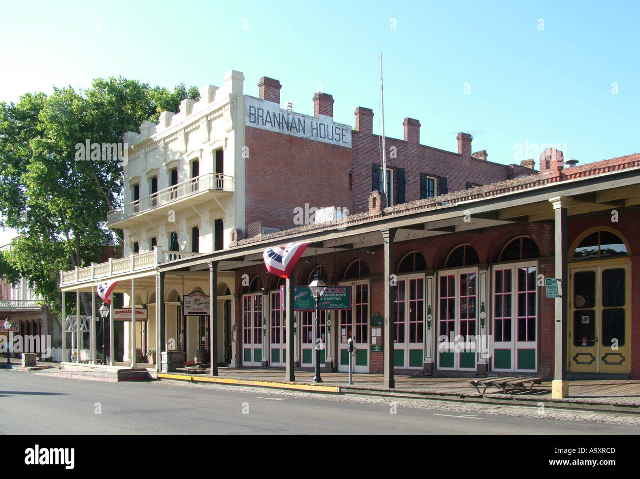 row of houses in Old Sacramento, building