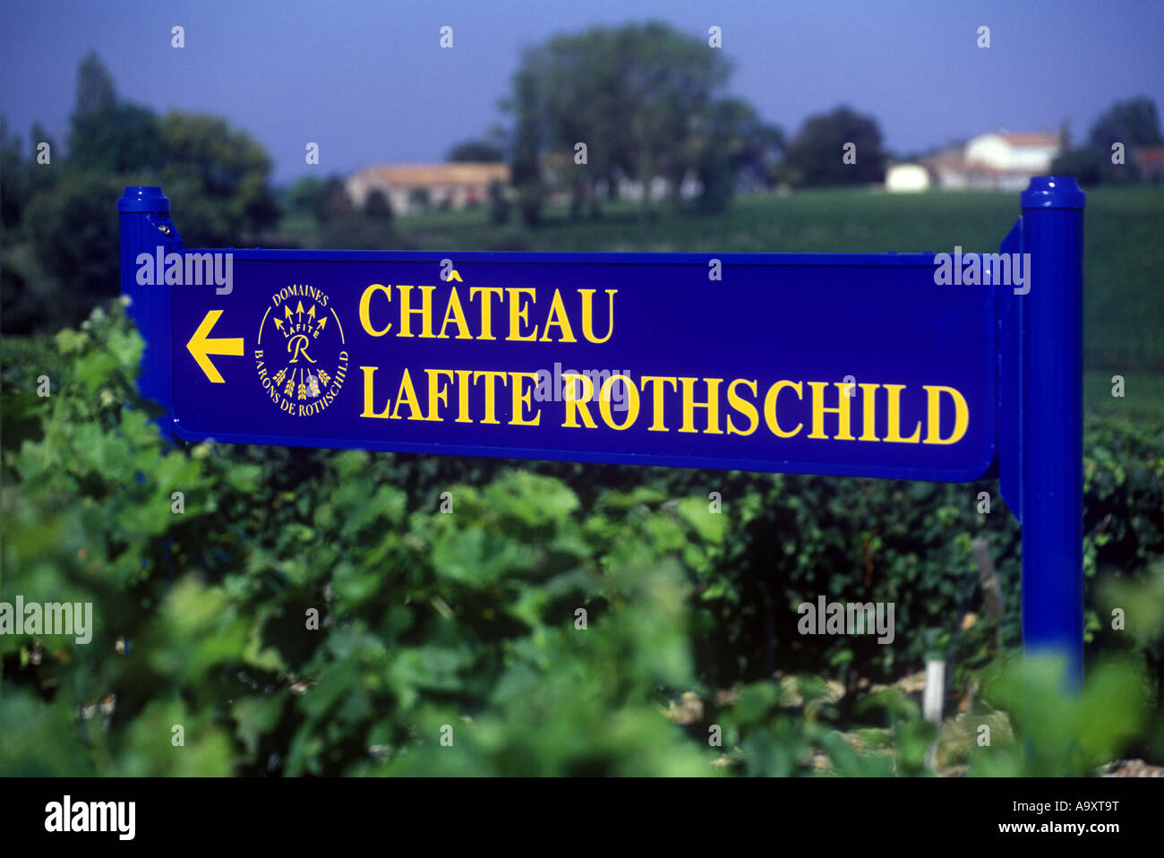 VINEYARD SIGN CHATEAU LAFITE ROTHSCHILD PAUILLAC BORDEAUX FRANCE - Stock Image