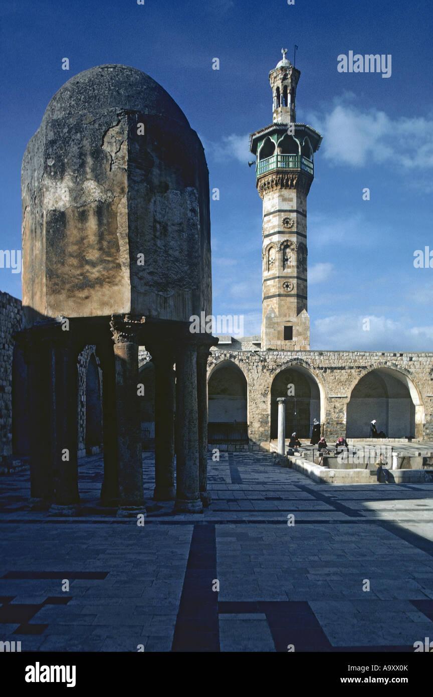 Great Mosque of Hama, courtyard, demolished 1982. - Stock Image