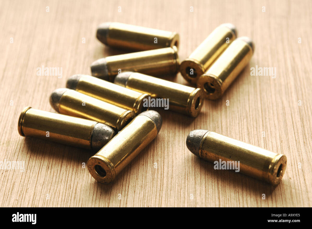 a collection of 45 bullets ammunition - Stock Image
