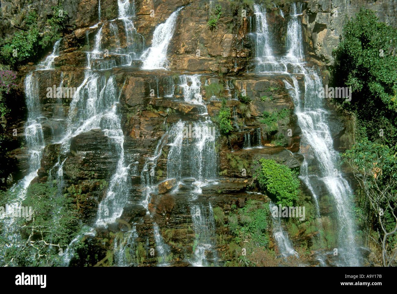 Waterfall Almecegas 1 Chapada dos Veadeiros Goias Brazil - Stock Image