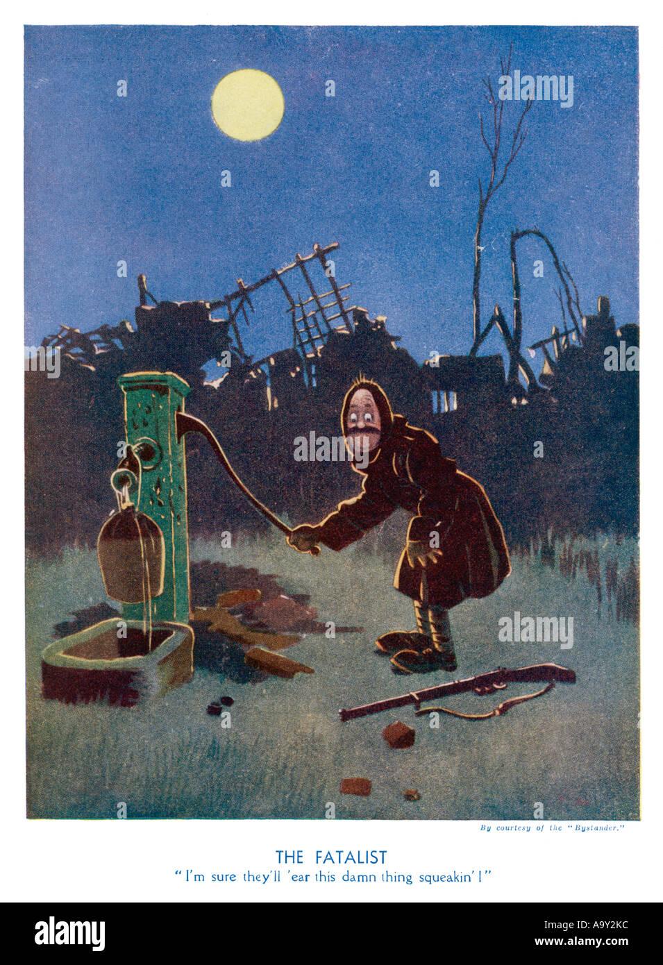 Ww1 Cartoon Squeaky Pump - Stock Image