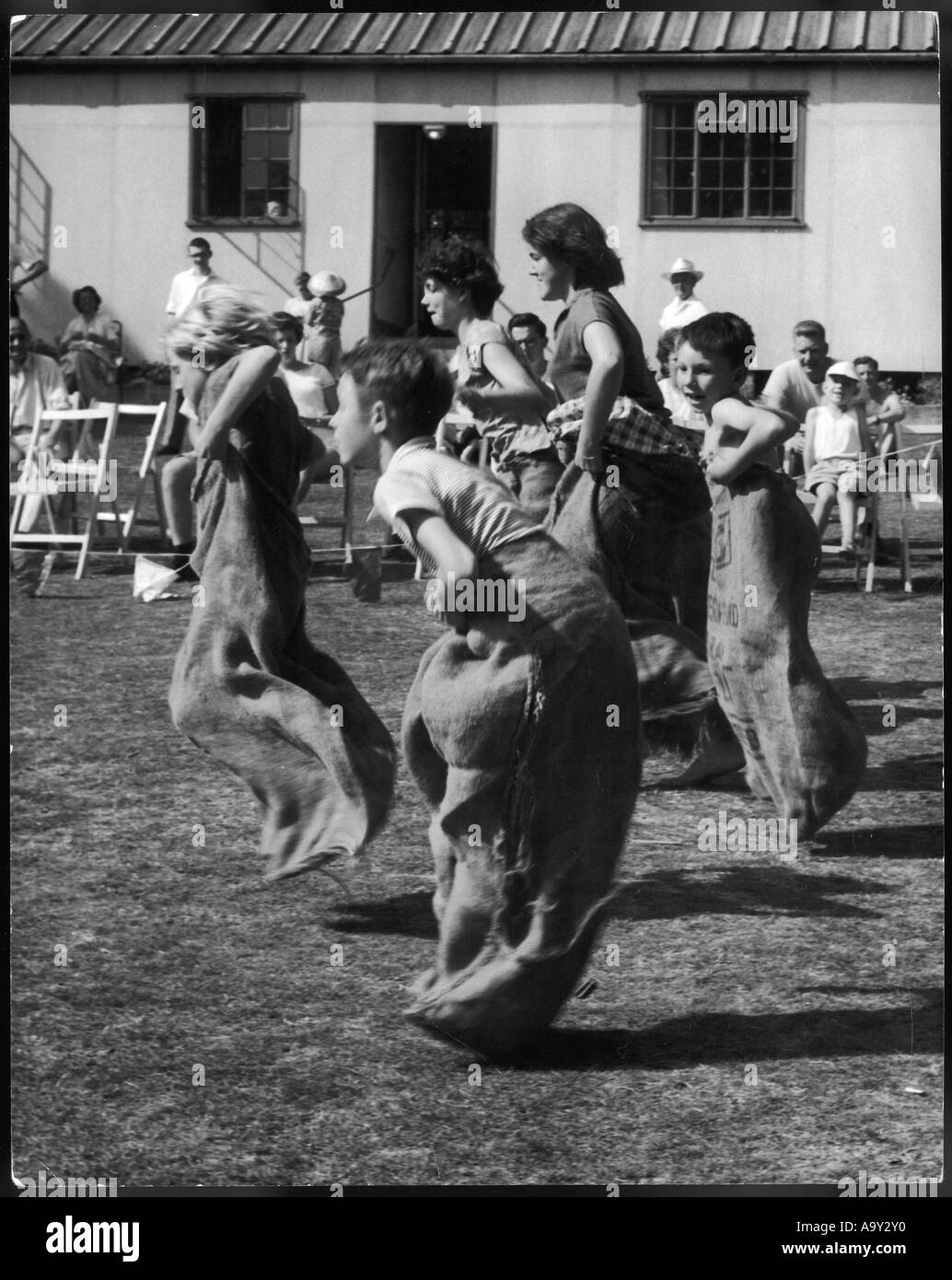 Sports Day Sack Race 50s - Stock Image