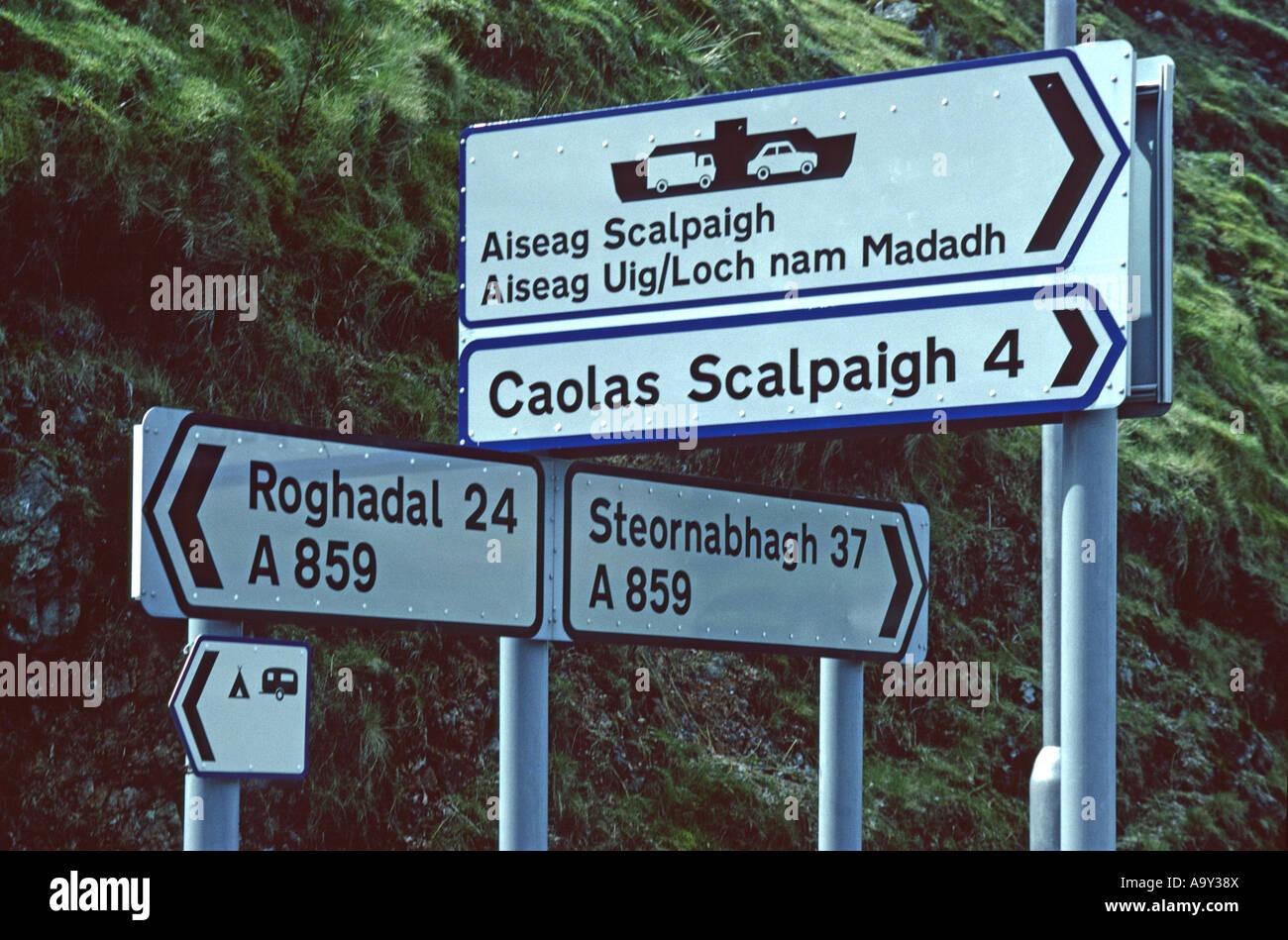 Road signs in Gaelic. Tarbert, Harris, Outer Hebrides, Scotland, U.K., Europe. - Stock Image