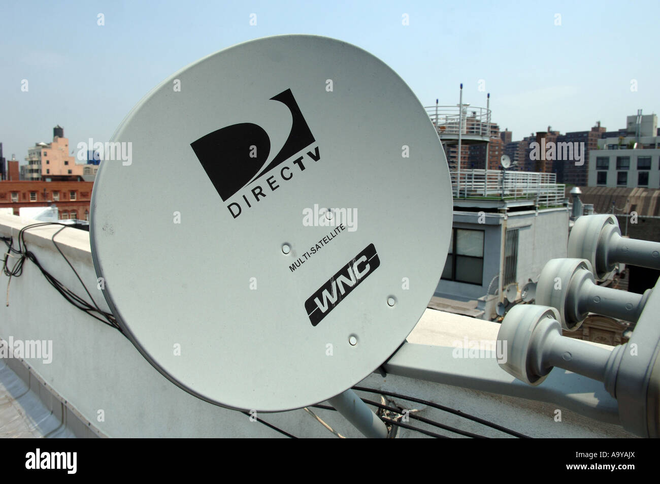 A Directv Satellite Dish On A Rooftop In Nyc Stock Photo Alamy