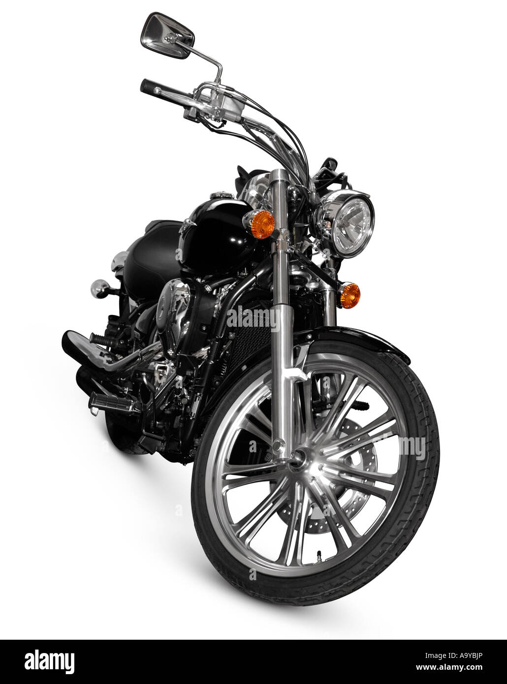 Black Kawasaki Vulcan 900 Custom motorcycle motorbike bike chopper cruiser Isolated on white cutout - Stock Image
