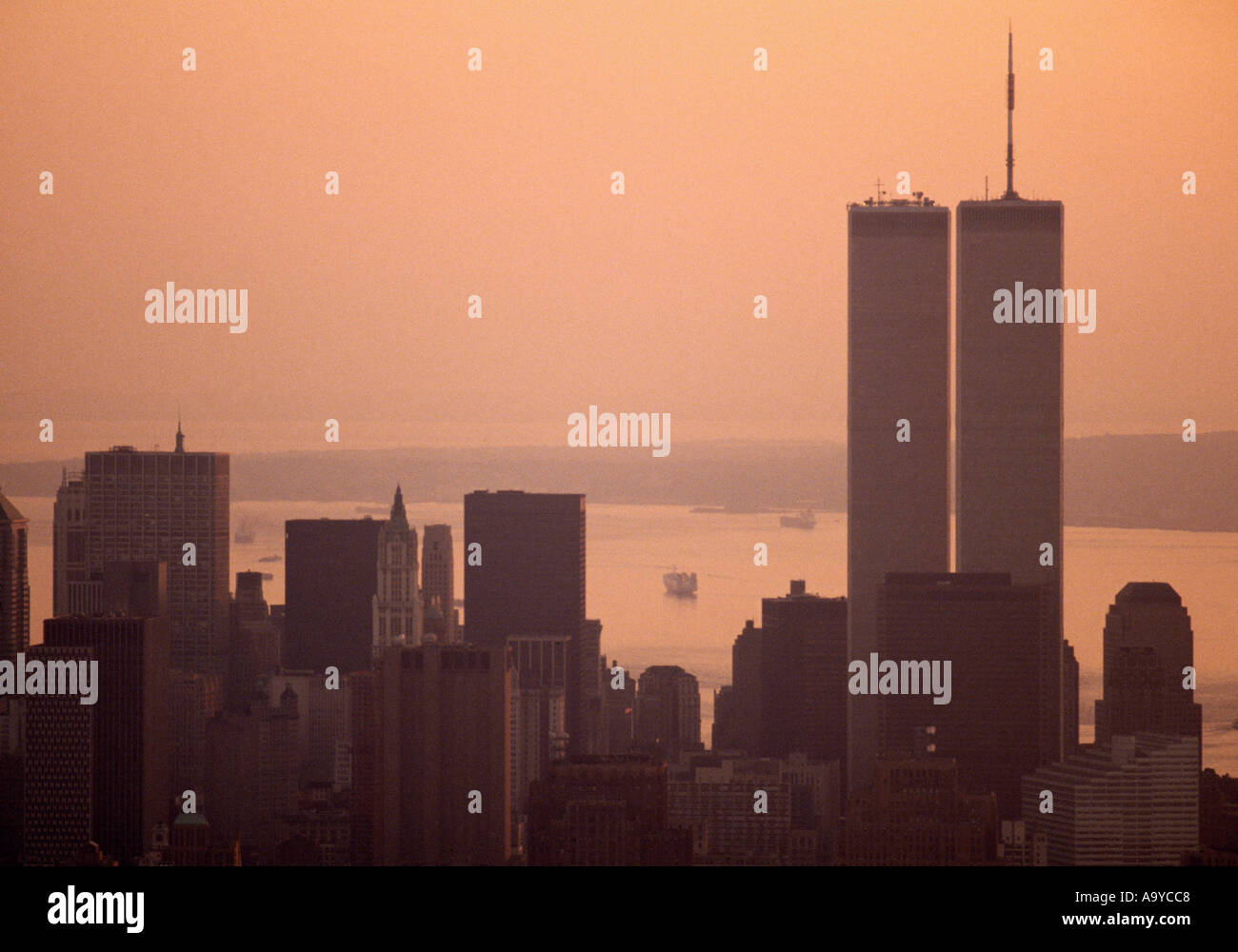 World Trade Center Twin Towers in Manhattan Island in New York City in the United States of America USA - Stock Image