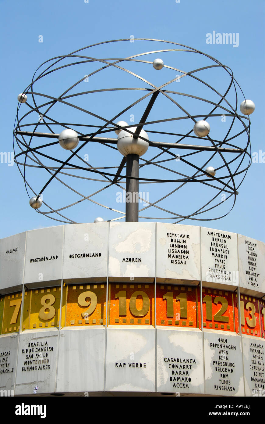 Solar system with planet orbit Weltzeituhr World Clock Alexanderplatz Berlin Germany - Stock Image