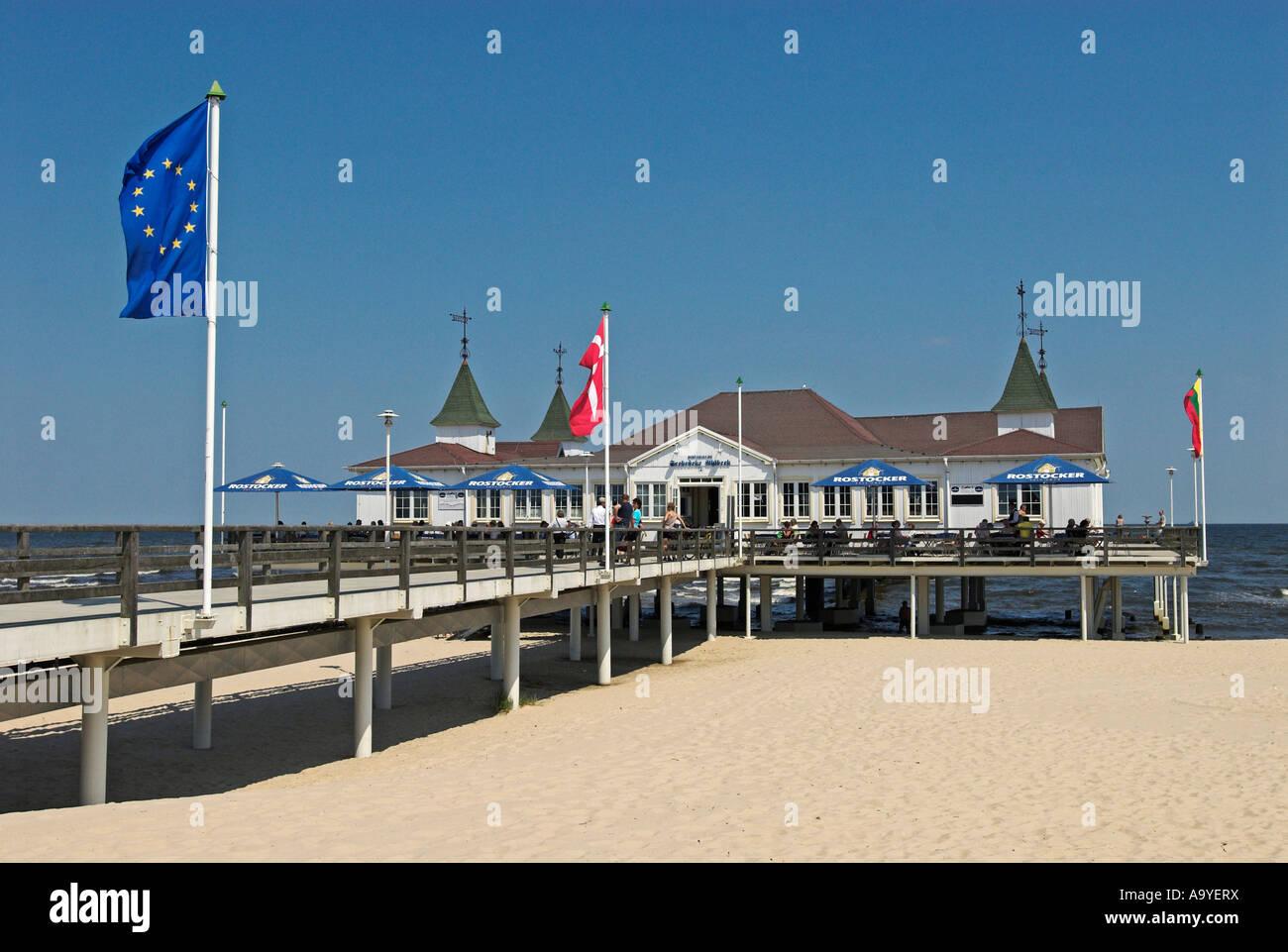 Wooden pier in Ahlbeck, Usedom island, Mecklenburg Western Pomerania, Germany, Europe Stock Photo