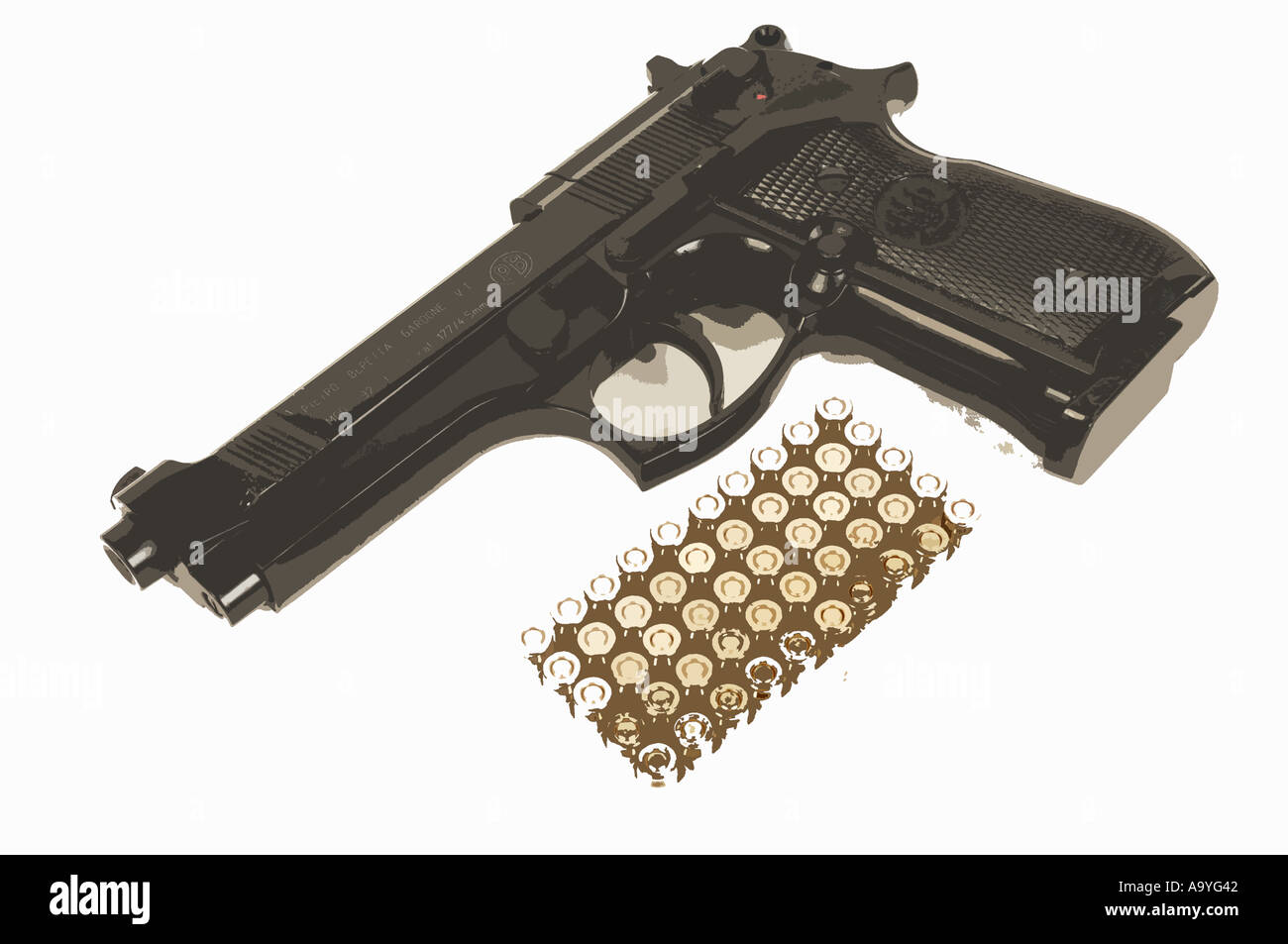 illustration of a beretta gun with bullets ammunition - Stock Image