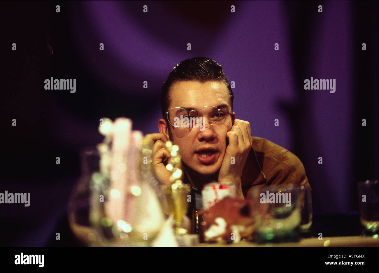 Mark Lammar in rehearsals for the cult British Television show The Word London UK - Stock Image