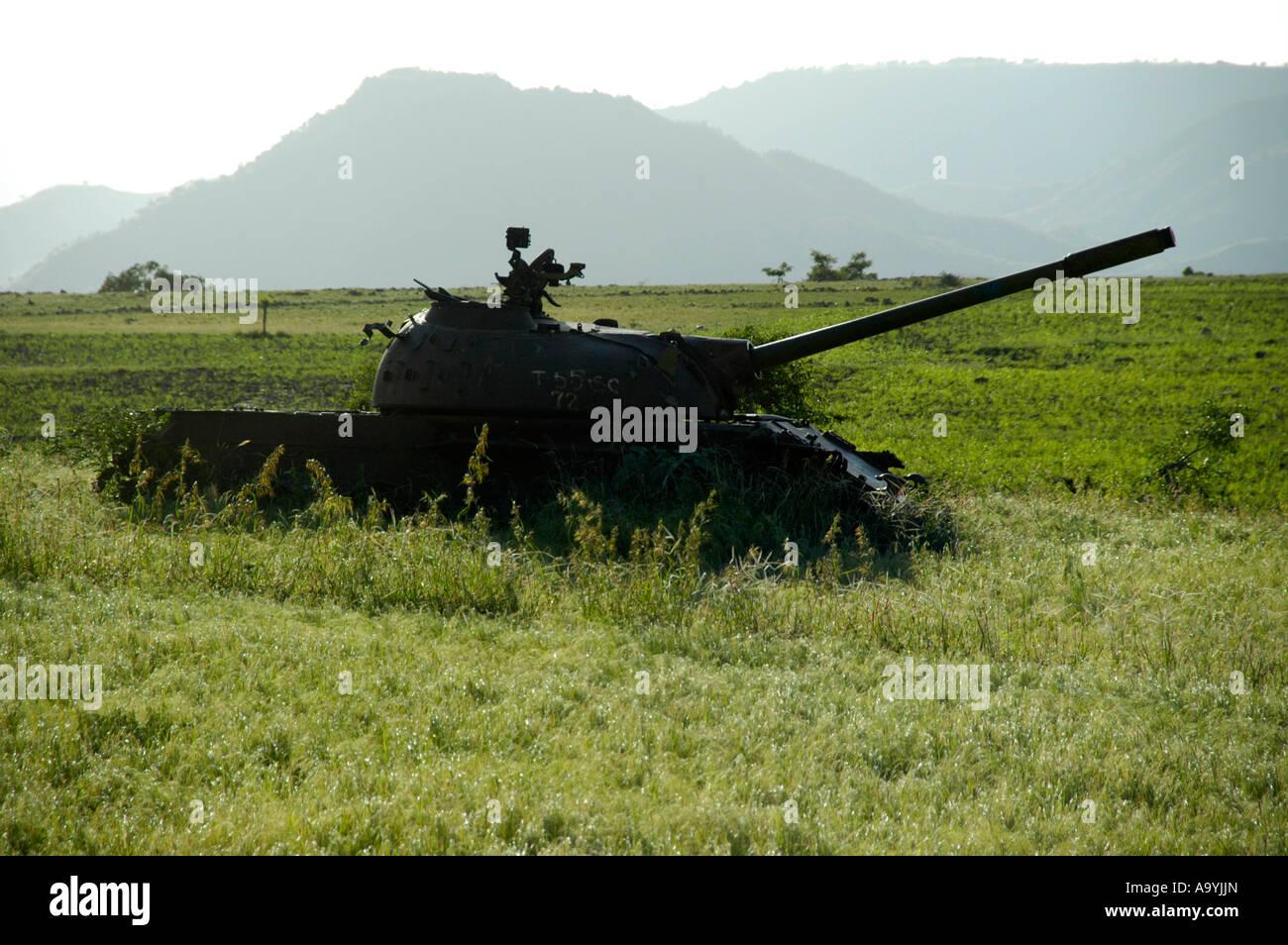 Old Russian tank in the field near Aksum Ethiopia Stock Photo