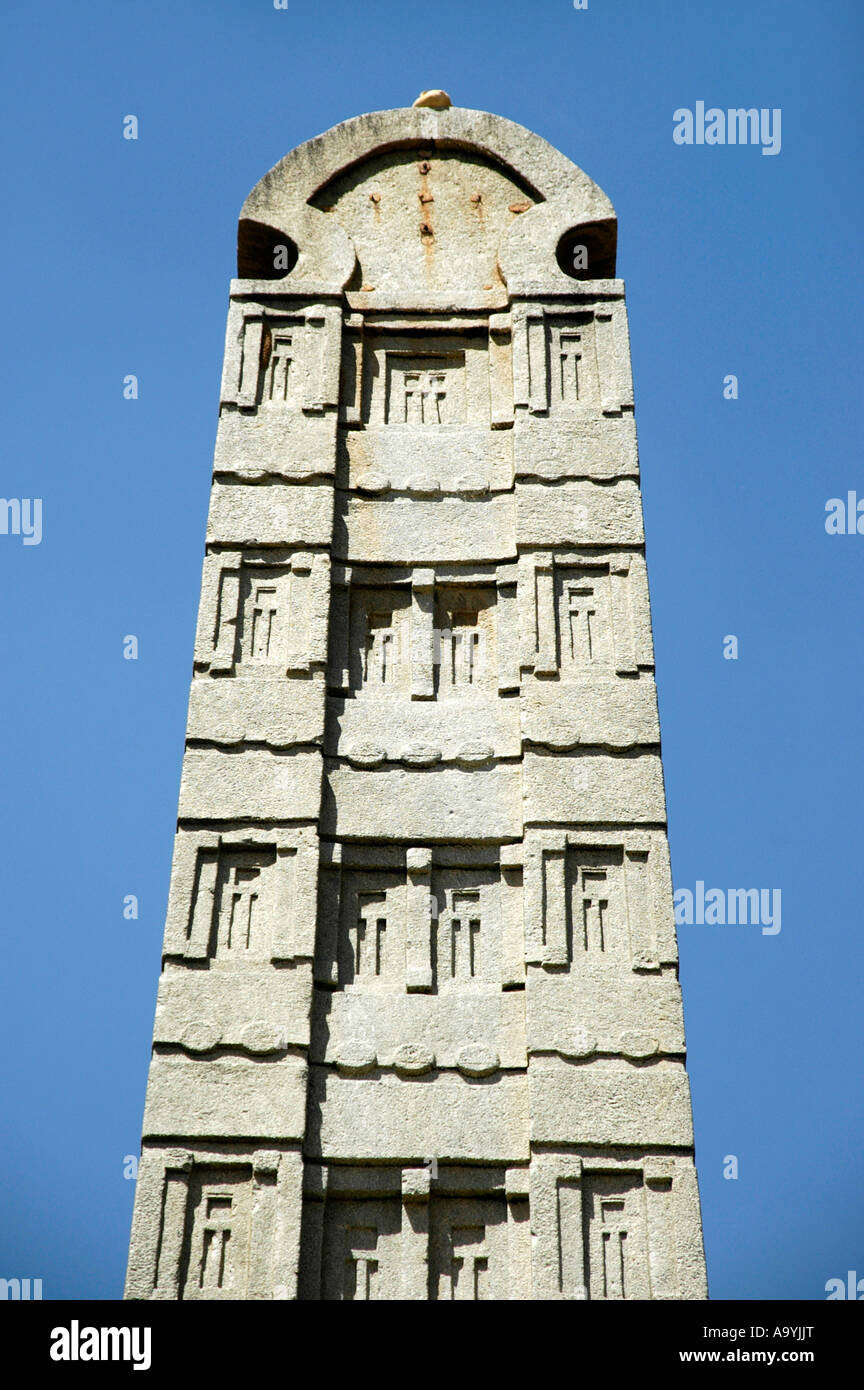 Top of the high standing stele Nr.3 in the stelepark Aksum Ethiopia Stock Photo