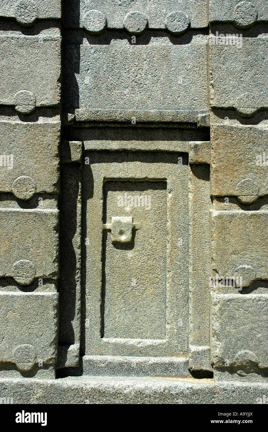 False entrance door of the high standing stele Nr.3 in the stelepark Aksum Ethiopia - Stock Image