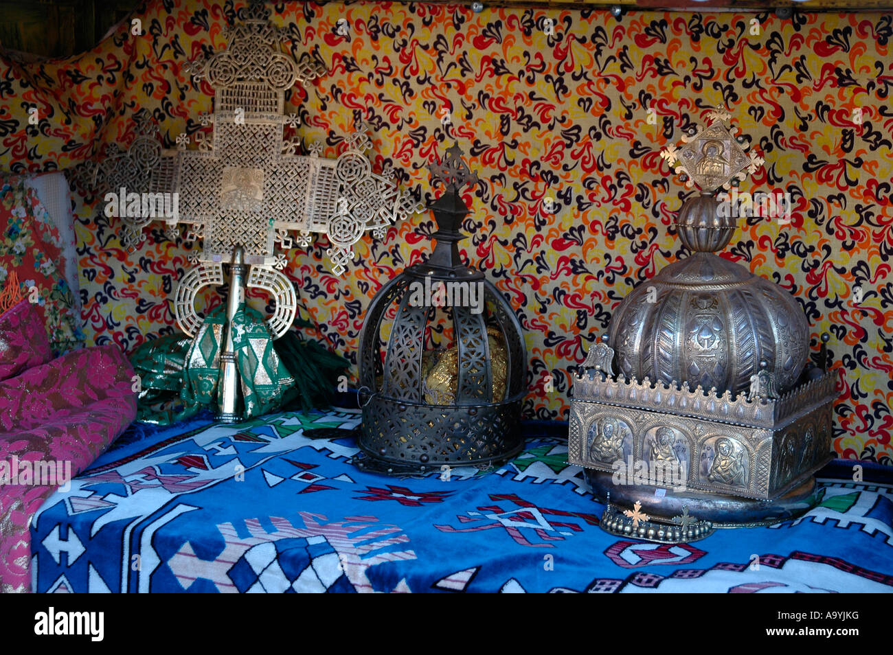 Cross and crowns religious treasury of the Old Cathedral Aksum Ethiopia - Stock Image