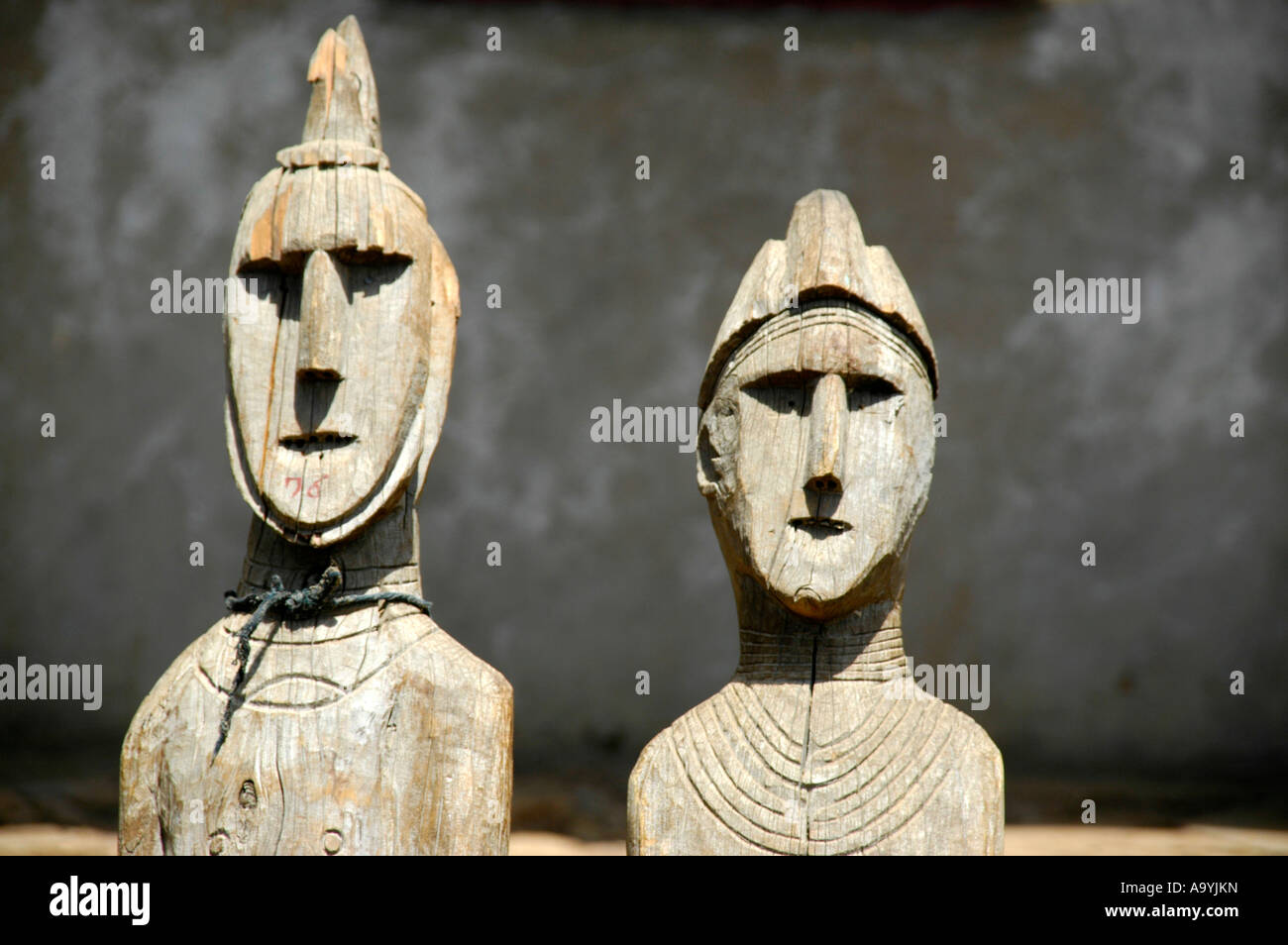 Two heads of ancient wooden totem figures museum Konso Ethiopia Stock Photo