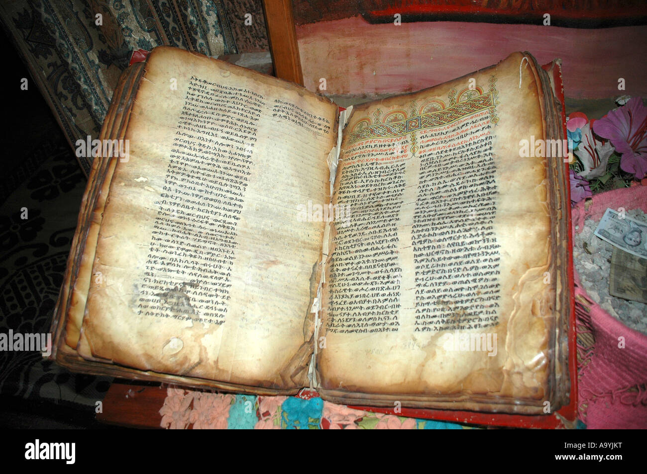 Old book of the bible written in Amharic script in rock hewn church Lalibela Ethiopia Stock Photo
