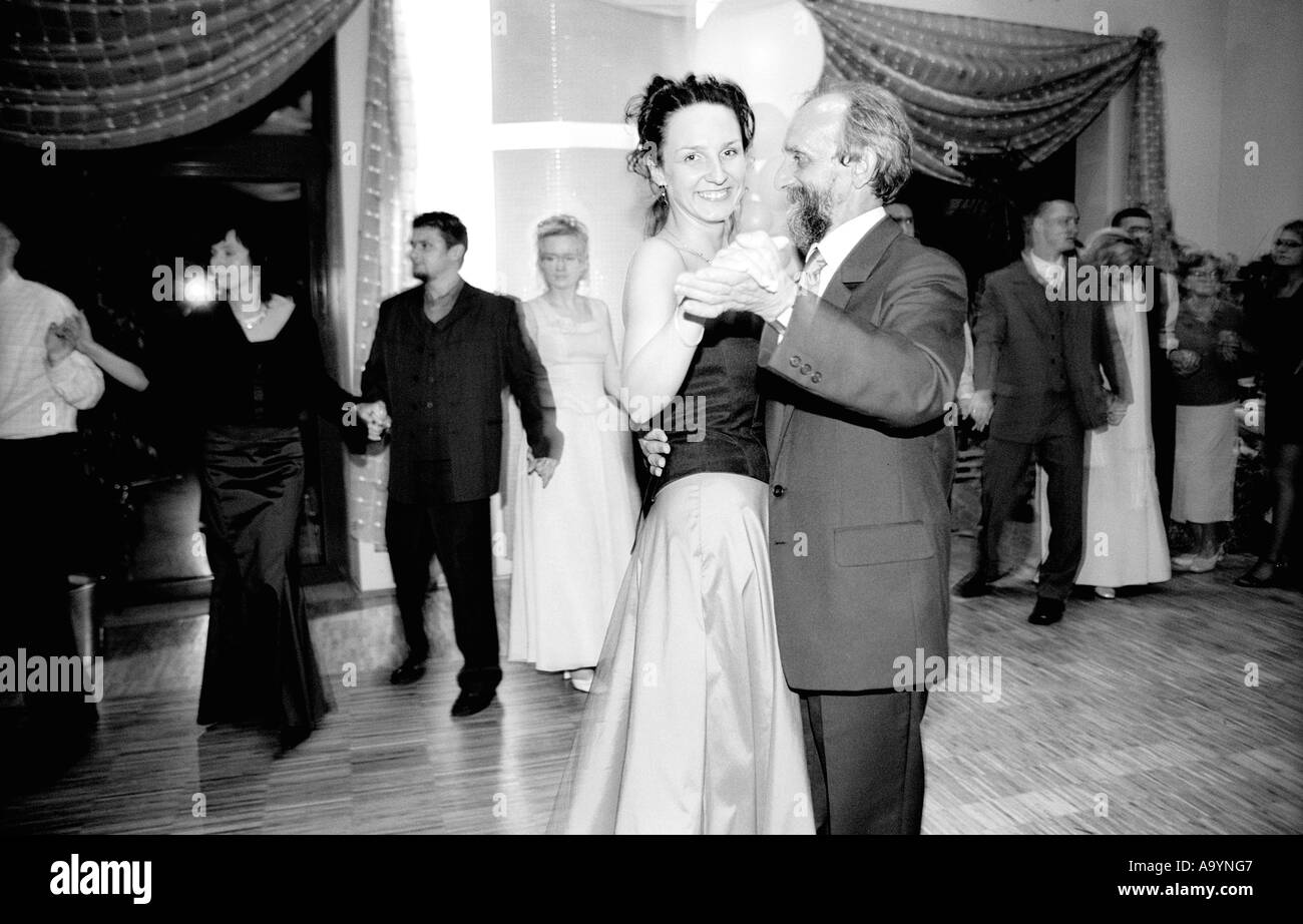Poland, Lodz, guests dancing at party (B&W) - Stock Image