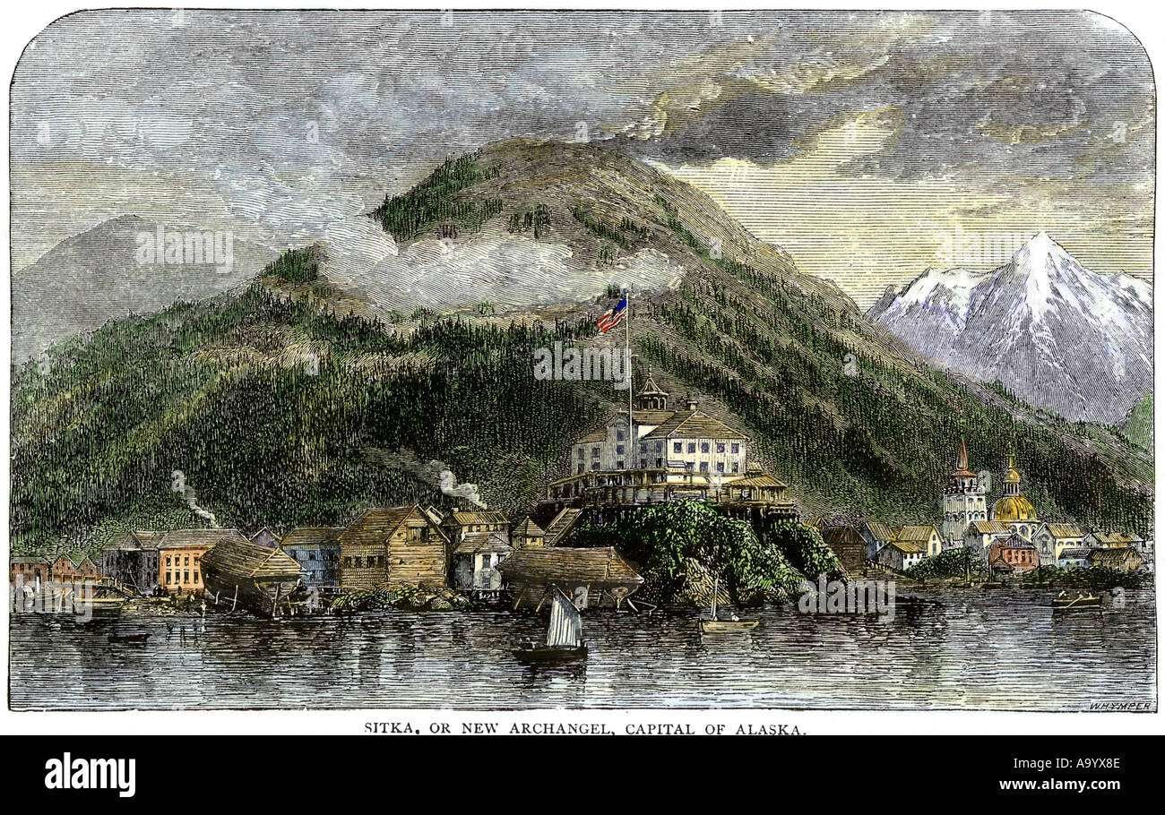 Sitka or New Archangel capital of Alaska 1869 after purchase from Russia. Hand-colored woodcut - Stock Image
