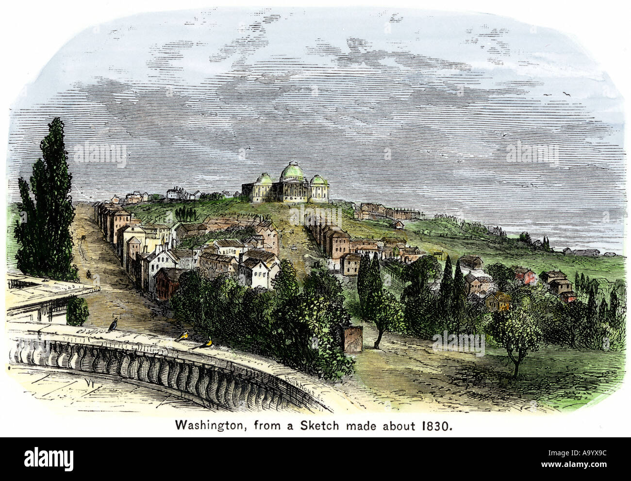 Washington DC from a sketch made about 1830. Hand-colored woodcut - Stock Image