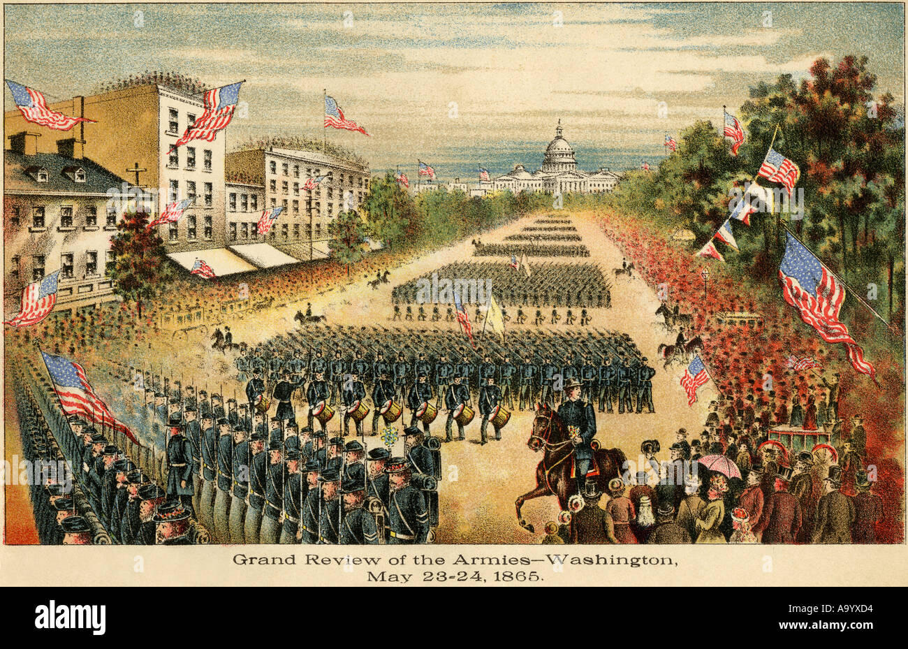 Grand Review of the Armies at the end of the Civil War on Pennsylvania Avenue in Washington DC May 1865. Color lithograph - Stock Image