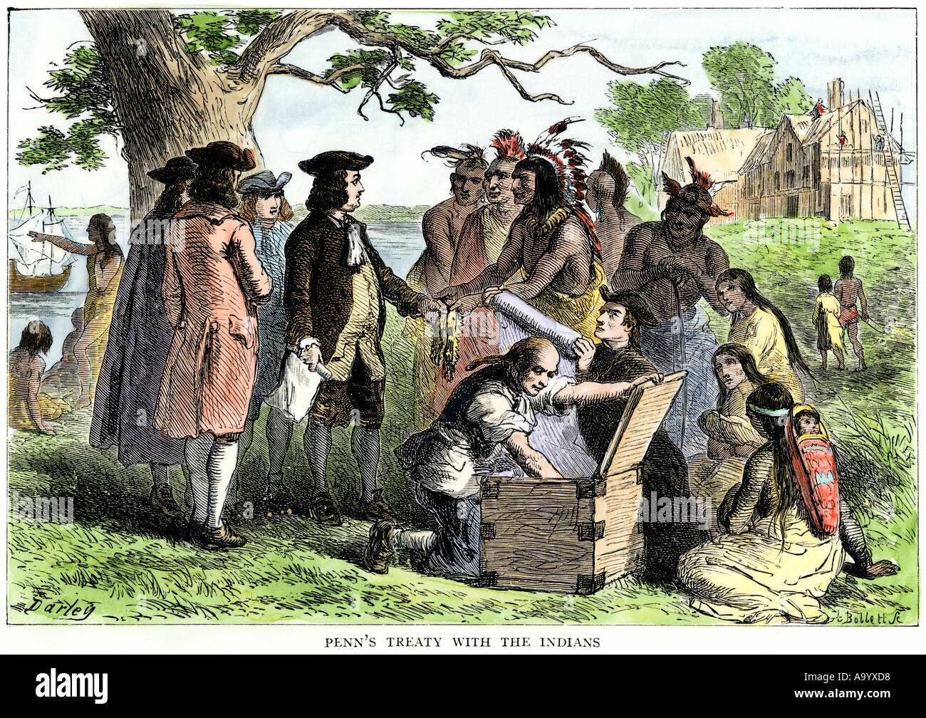 William Penn treaty with Native Americans in Pennsylvania 1680s. Hand-colored woodcut - Stock Image