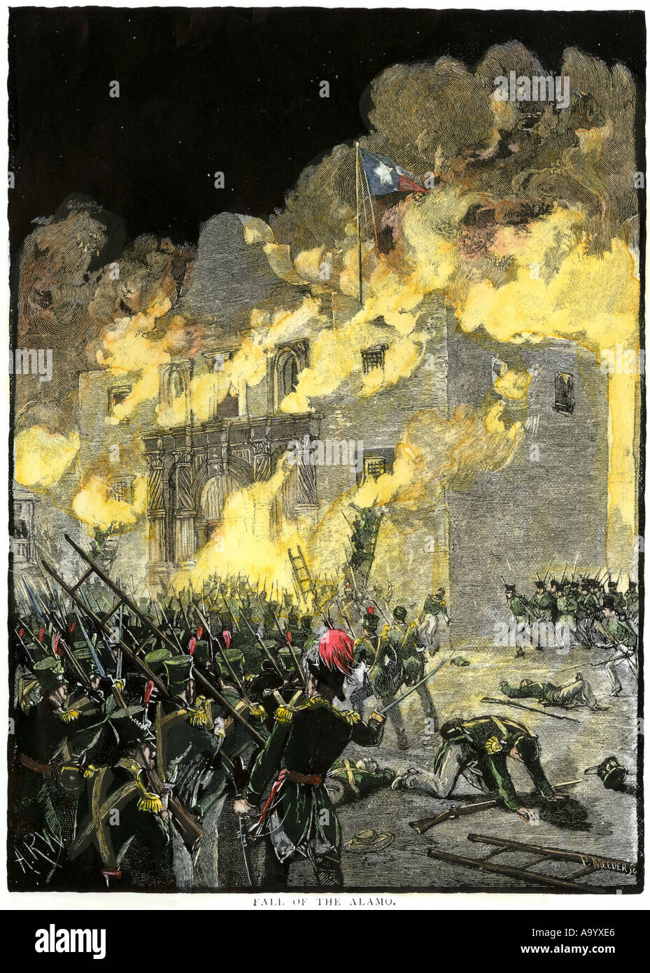 Fall of the Alamo to Santa Anna Mexican forces in San Antonio Texas 1836. Hand-colored woodcut - Stock Image