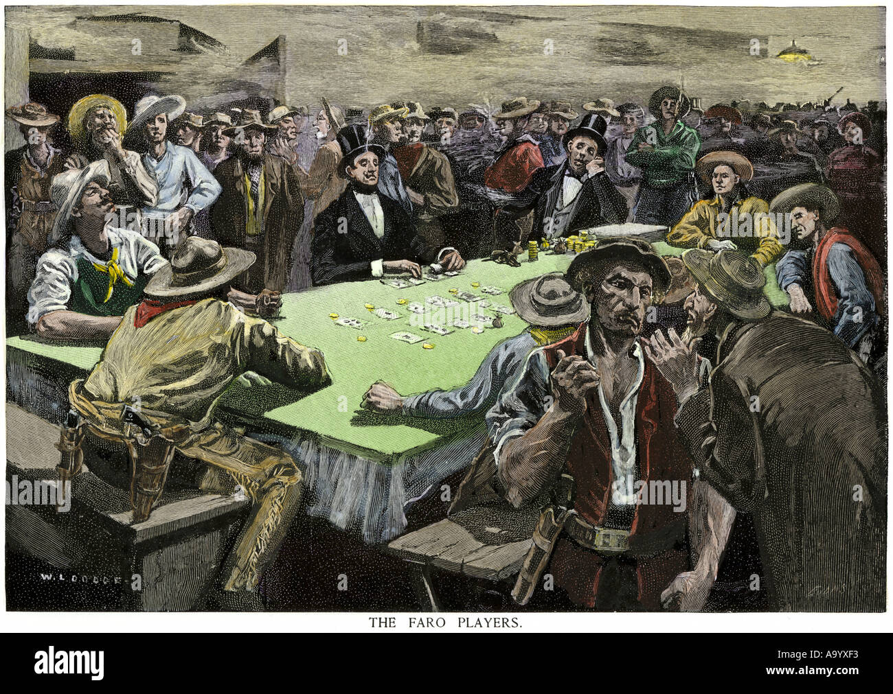 California Gold Rush miners in a gambling saloon playing faro. Hand-colored woodcut - Stock Image