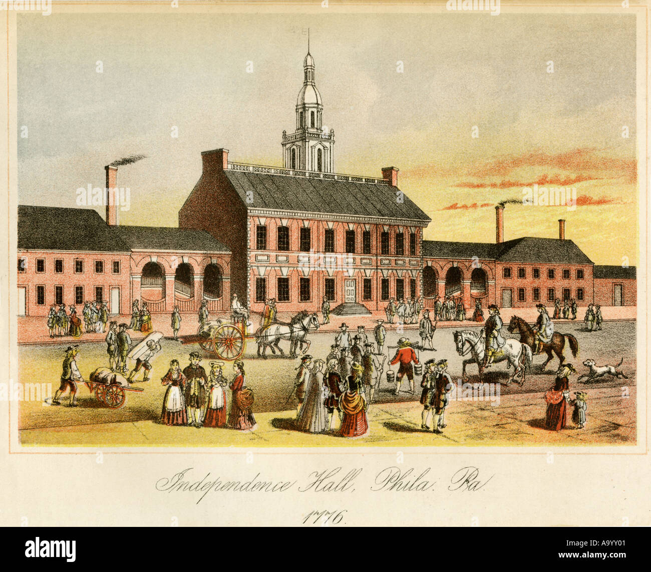 Independence Hall in Philadelphia while the Continental Congress met to  write the Declaration of Independence 1776. Color lithograph Stock Photo -  Alamy