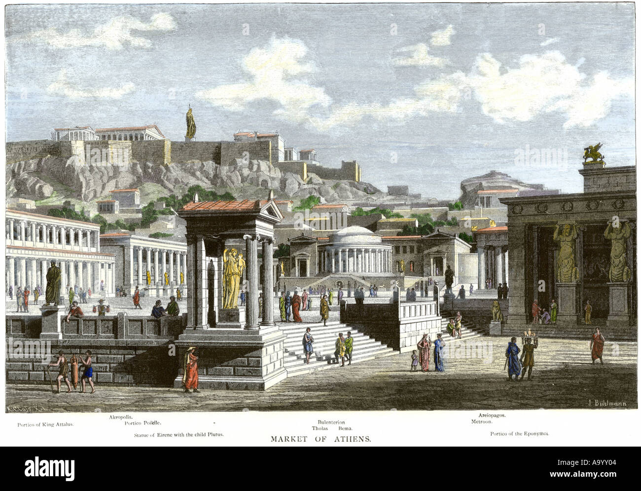 Agora or market area of ancient Athens beneath the Acropolis. Hand-colored woodcut - Stock Image