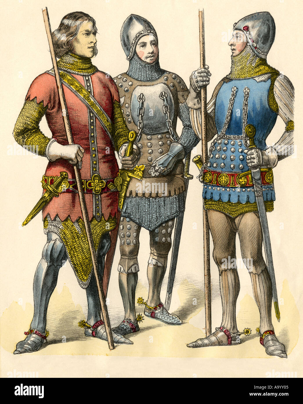 German knights in armor from 1300, 1315 and 1360. Hand-colored print - Stock Image