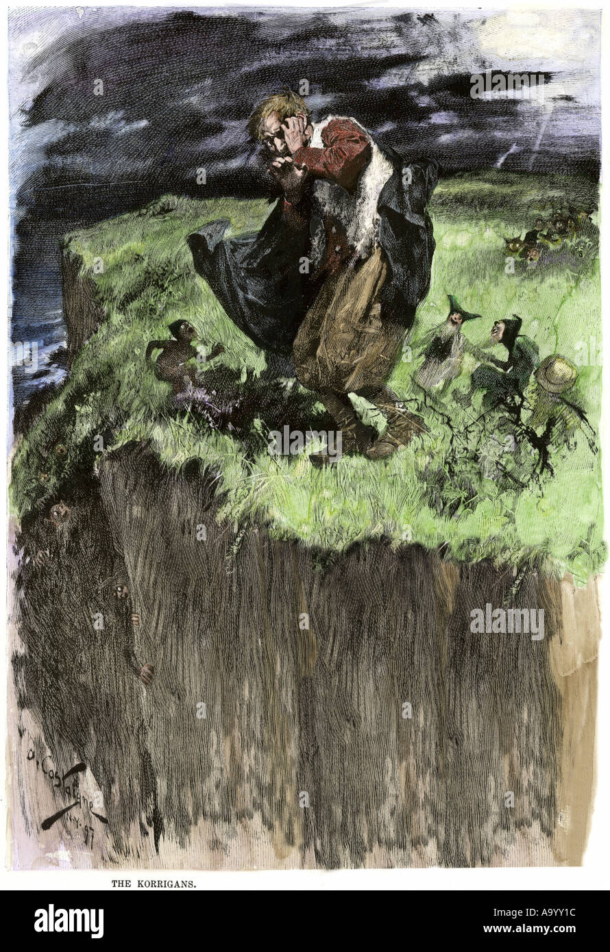 Clurichauns of Irish folklore leading a tipsy traveler astray. Hand-colored woodcut - Stock Image