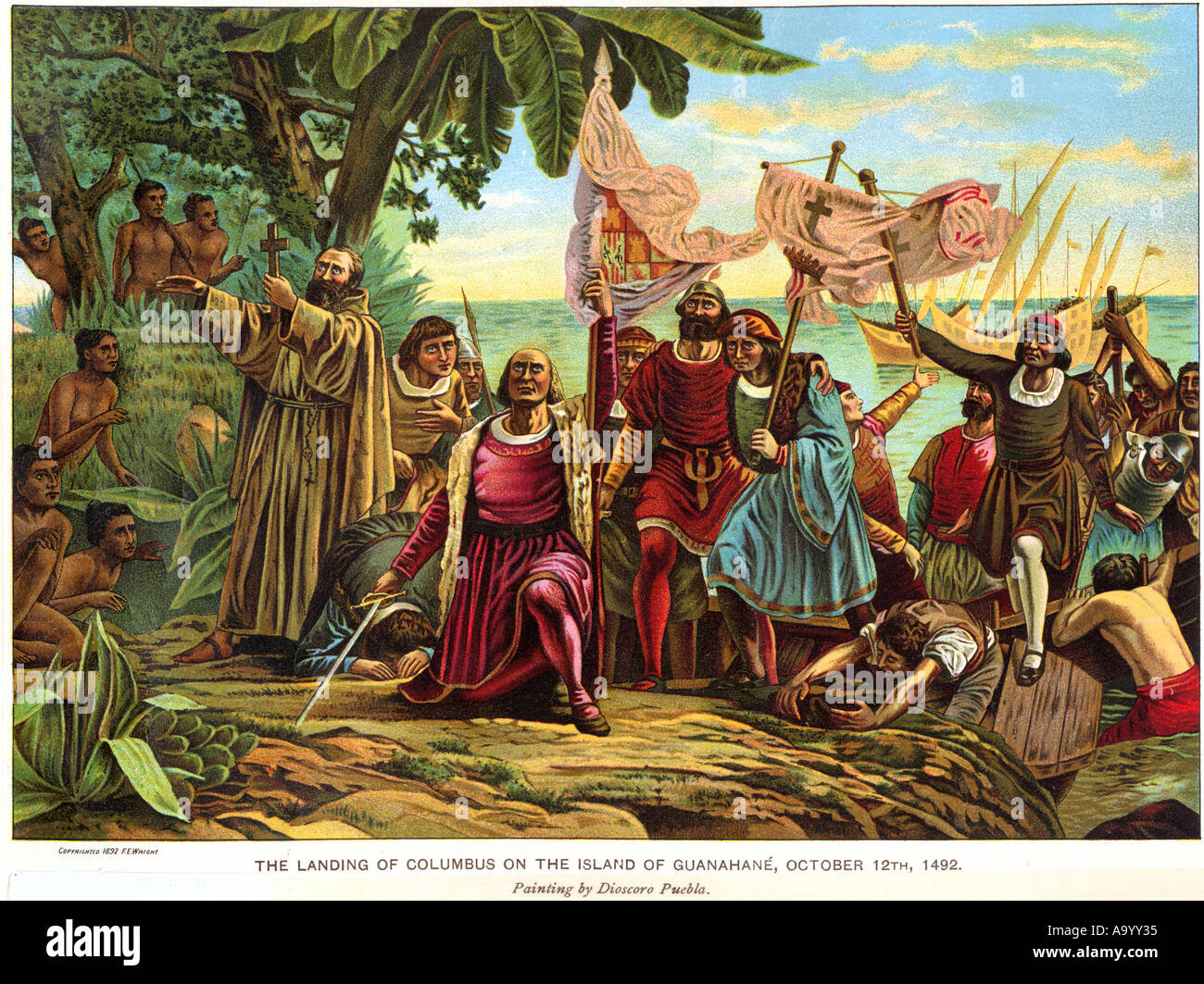 Landing of Columbus expedition on the island of Guanahani in 1492. Color  lithograph