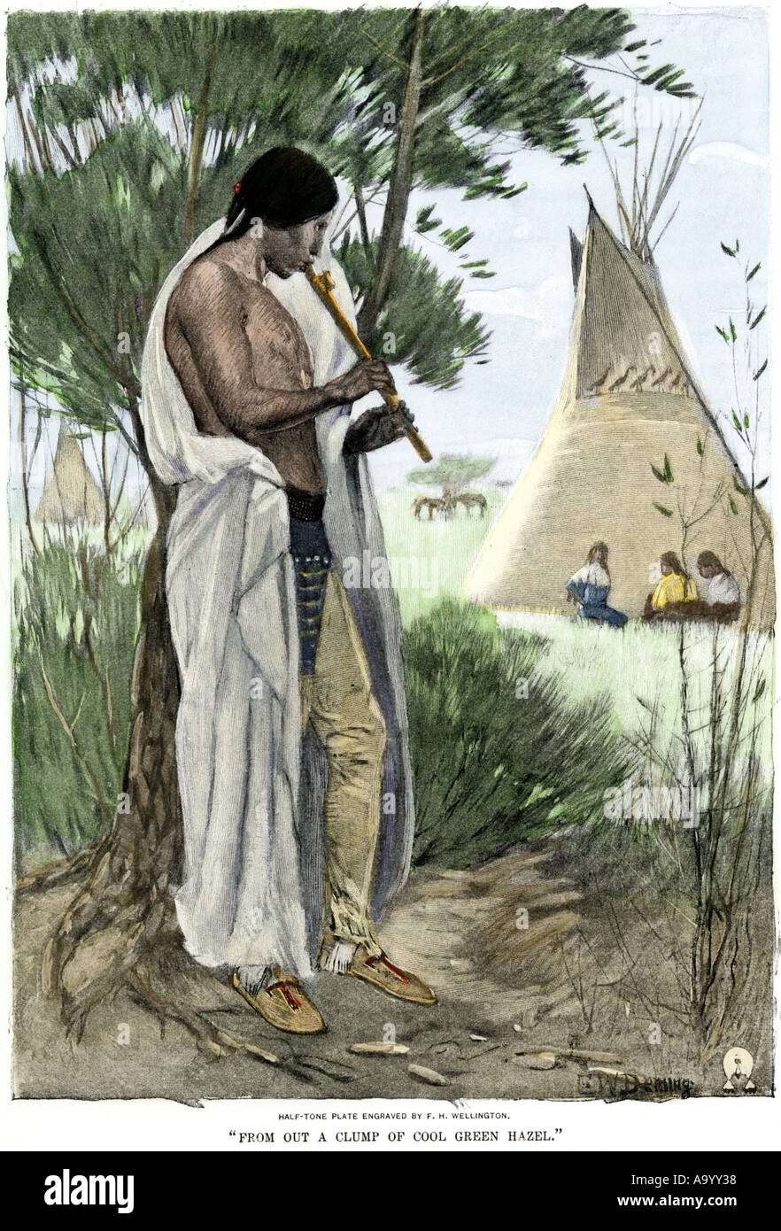 Native American playing a flute to young women near a tepee. Hand-colored halftone of an illustration - Stock Image