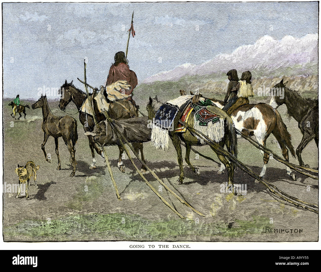 Sioux family riding to a ceremonial dance using a travois for extra belongings. Hand-colored woodcut of a Frederic Remington illustration - Stock Image
