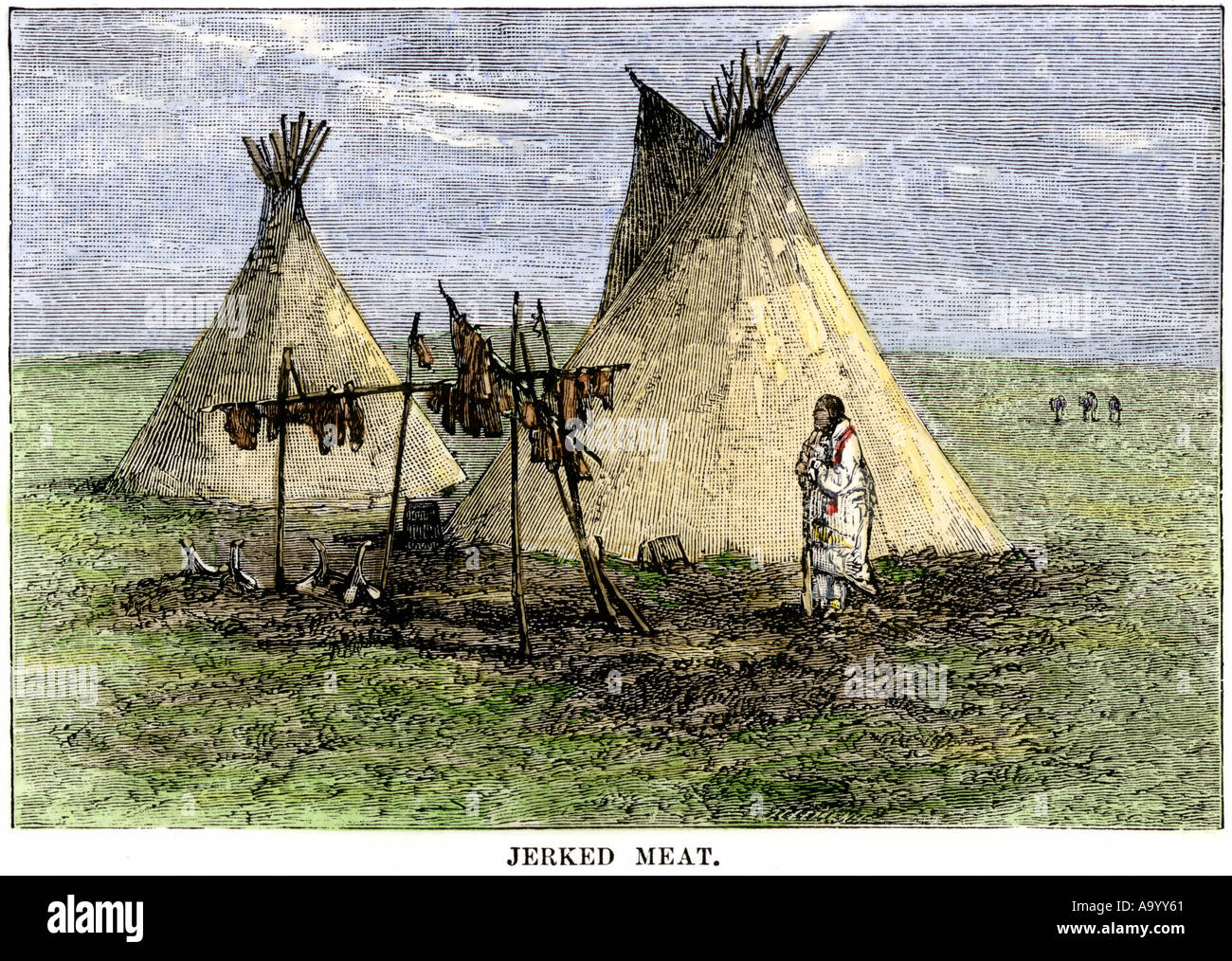 Meat strips drying to make jerky outside a tepee on the Great Plains. Hand-colored woodcut - Stock Image